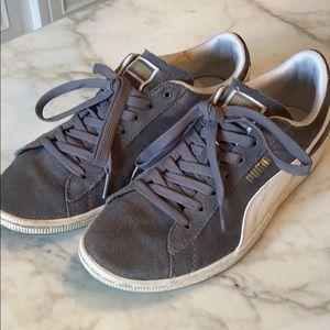 Puma sneakers. Gray w white trim 8.5  barely worn